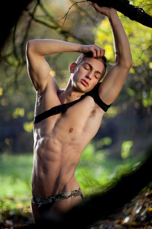 MaleModel Ingo Ingo into the woods athletic twink