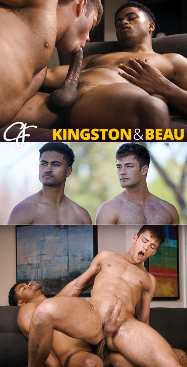 CorbinFisher Beau rides Kingston's big cock bareback and cums hands-free