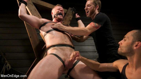 MenOnEdge Built Boy Brian Bonds in Bondage takes Fat Toys, Tickling, Fucksaw