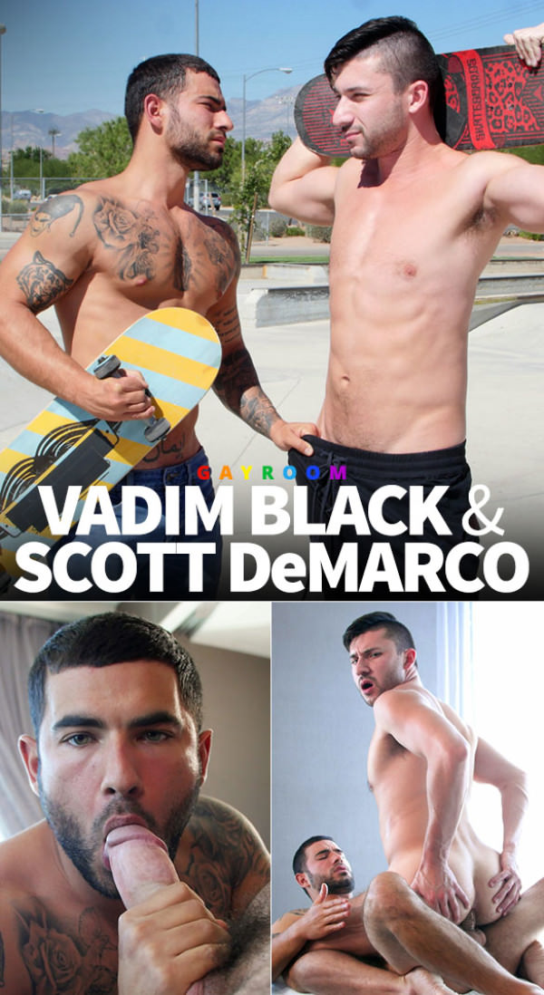 Manroyale Skater Sluts Vadim Black returns to gay porn, fucks Scott DeMarco
