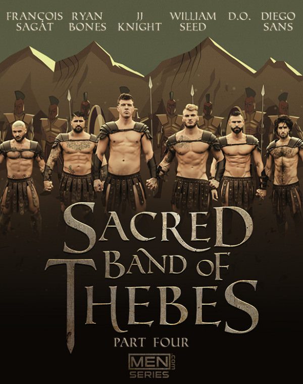 Men.com Sacred Band of Thebes, Part 4 William Seed, Diego Sans, François Sagat, JJ Knight, D.O. Ryan Bones' six-man orgy DrillMyHole
