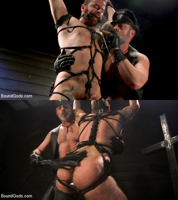 BoundGods ASH PIGS Cigar Smoking Leather Daddy Breaks in His Hairy Muscle Slave Kristofer Weston Brendan Patrick