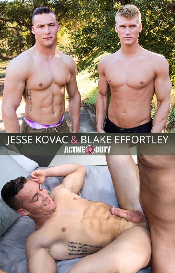 ActiveDuty Newcomer Blake Effortley fucks Jesse Kovac bareback