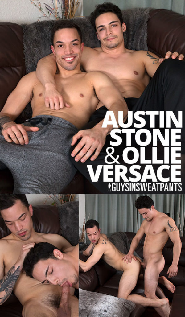 GuysInSweatpants Bust on My Face! Ollie Versace fucks Austin Stone bareback