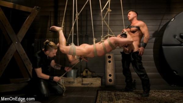 MenOnEdge Tuckered Out New Slave Kept on the Edge