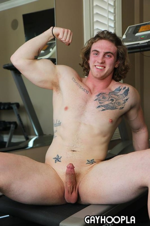 GayHoopla Mystery Members Only Model #14 Shaggy Haired Stud Dustin Reynolds Jerks Off