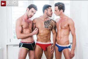 LucasEntertainment – Zander Craze Shares His Meat With Damon Heart & Viktor Rom – Bareback