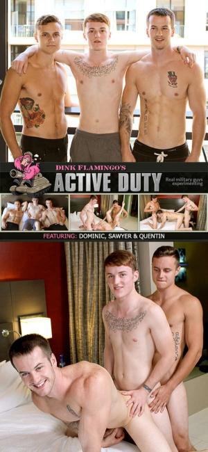 ActiveDuty – Sawyer, Quentin & Dominic fuck each other Bareback