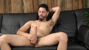 StraightFraternity – Zee jacks his uncut cock and cums on his smooth abs‏