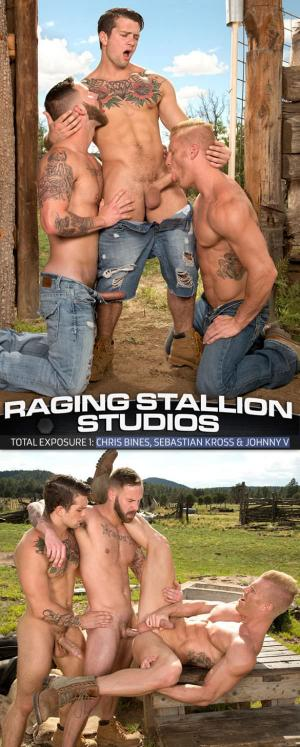 RagingStallion – Total Exposure 1 – Chris Bines, Sebastian Kross & Johnny V's and hot threeway
