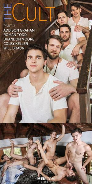 JizzOrgy – The Cult Part 3 – Addison Graham, Brandon Moore, Colby Keller, Roman Todd & Will Braun – Men.com