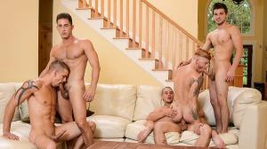 JizzOrgy – Stop In – Adam Bryant, Armando De Armas, Bennett Anthony, Darin Silvers & Johnny Rapid – Men.com