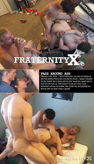 FraternityX – Pass Around Ass – Stone, Corey, John & Jessie – Bareback