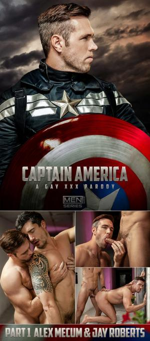 Men.com – Captain America: A Gay XXX Parody, Part 1 – Alex Mecum and Jay Roberts flip fuck
