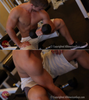 AllAmericanGuys – Alex C. works out biceps