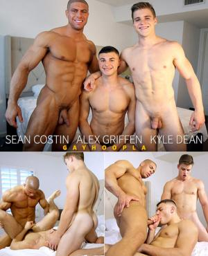 GayHoopla – Kyle Dean & Sean Costin FUCK Alex Griffen In HOT Gay Threesome