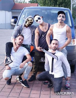 Hardkinks – The Purge: A Gay Porn Parody Chapter 1 – Abraham Montenegro, Angel Cruz, Josh Milk, Rafa Marco & Valentino Ribas