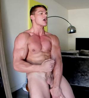 GayHoopla – Bodybuilder Paul Tiller FLEXES, CUMS, and Showers – Solo – Part 3