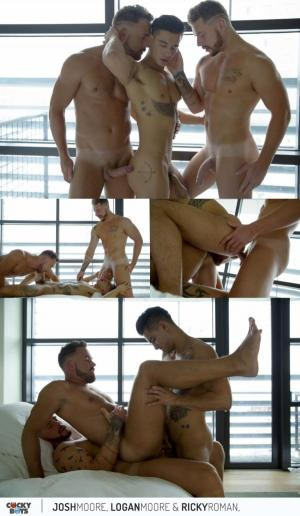 CockyBoys – Logan Moore Gets DP'd by Josh & Ricky Roman