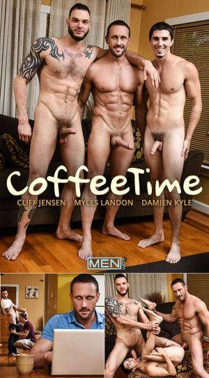 DrillMyHole – Coffee Time – Damien Kyle bottoms for big-dicked Myles Landon & Cliff Jensen – Men.com