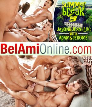 BelAmiOnline – Summer Break Episode 11 – Adam Archuleta and Jerome Exupery fuck Jean-Luc Bisset and Jason Bacall bareback