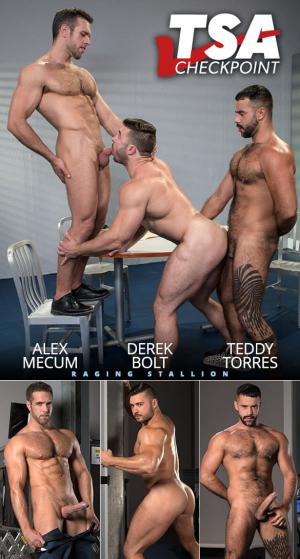 RagingStallion – TSA Checkpoint – Alex Mecum & Teddy Torres fuck Derek Bolt's muscle butt