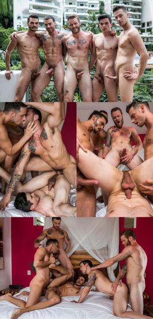 LucasEntertainment – Take It Boy – Bareback Five-Way – Aaden Stark, Carlos Lindo, Dakota Payne, Damon Heart & Shawn Reeve – Bareback