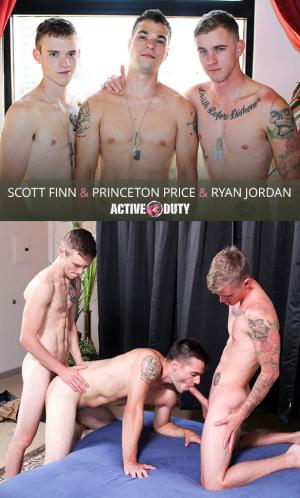 ActiveDuty – Ryan Jordan, Princeton Price & Scott Finn fuck each other bareback