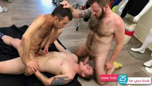 GuyBone – Bareback Break – Brax Bailey, Jared Gryphon & Zeke Johnson